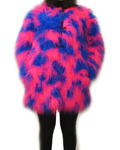 UV Fluo Rose /& Bleu Camo fourrure moelleuse VESTE manteau fourrure Vestes Festive rave cyber