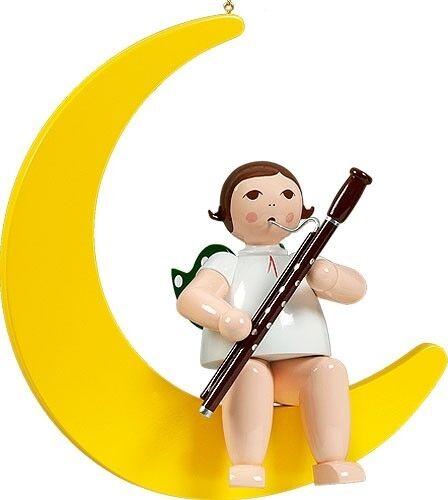 Ventana Imagen Ángel en luna con fagot sin corona altura 30 cm nuevo fensterdeko