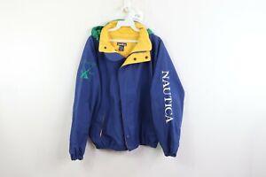 Vintage-90s-Nautica-Mens-Medium-J-Class-Spell-Out-Hooded-Full-Zip-Jacket-Blue
