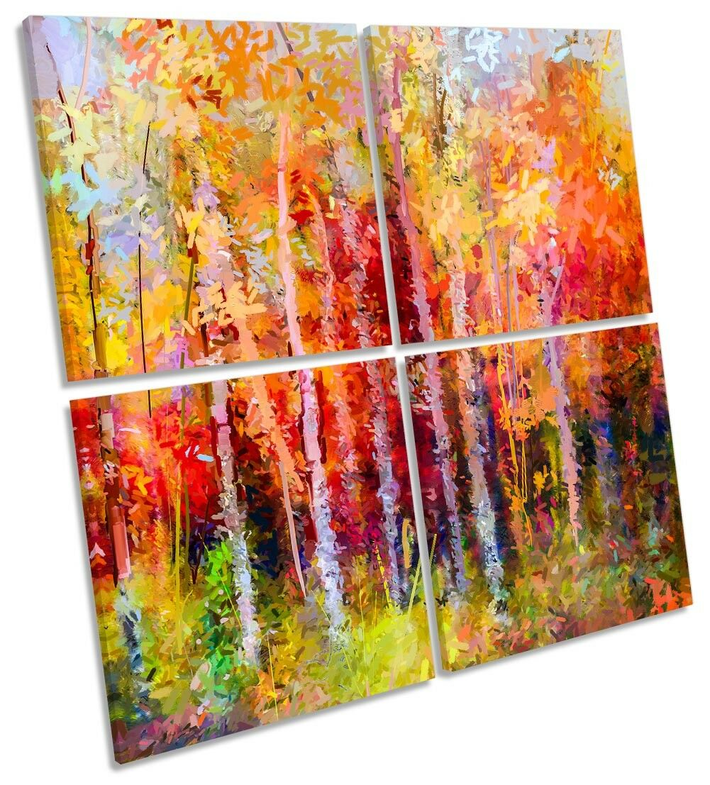 Autumn Abstract Forest Trees Framed MULTI CANVAS PRINT Art Square