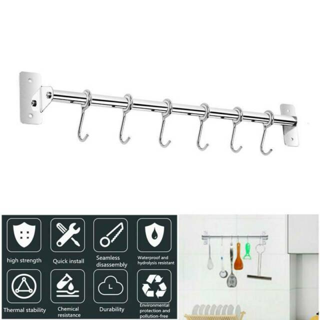 Kitchen Rail Utensil Rack Hanger Wall Mounted Stainless Steel with 10 Free Hooks