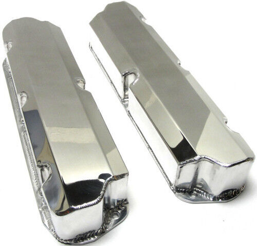 SBF Polished Ford 289 302 351W Fabricated Valve Covers No Hole Short Bolt