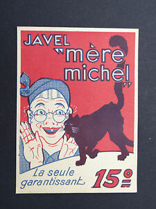 Ancienne étiquette EAU DE JAVEL MERE MICHEL Chat cat Katze french label vI8MimPG-09084352-611975728
