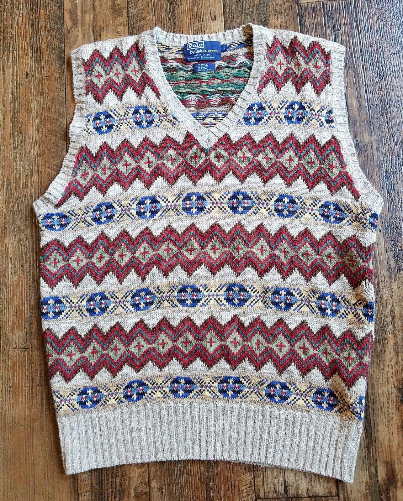 Vtg Polo Ralph Lauren Fair Isle Knit Vest Sweater Men L Large