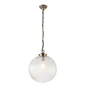 Endon-Brydon-pendentif-1x-40W-Transparent-verre-cotele-amp-antique-finition-laiton