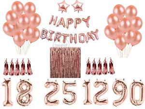 Or-Rose-Heureux-anniversaire-Bunting-Banniere-Ballons-guirlandes-Rideau-Decorations