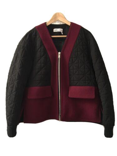 SONIA RYKIEL Black Bomber Jacket Coat Quilted Patc