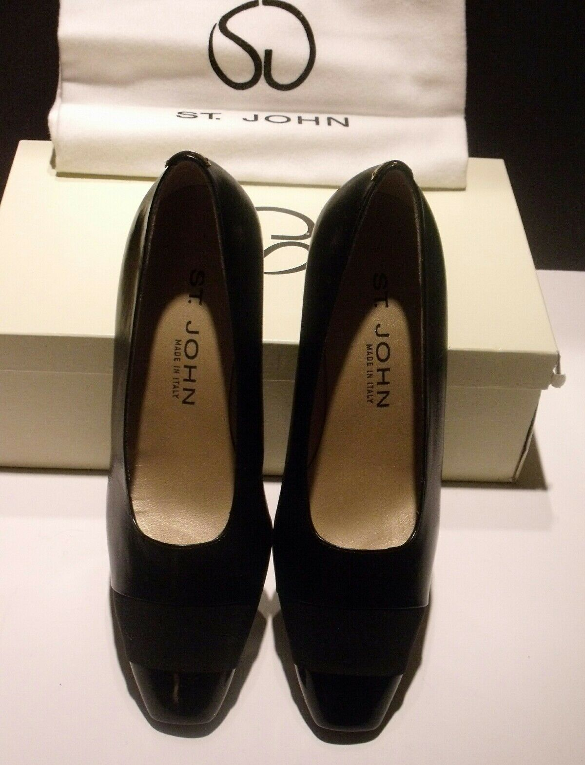 NWT ST JOHN Women's Sz 6 B Gorgeous Black Leather Leather Leather Lazer Heels Pumps db3a6a