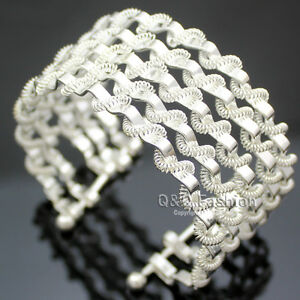 Silver-Zig-Zag-Swirl-Twisted-Wire-Spiral-Multi-Layers-Big-Bracelet-Bangle-Cuff-k