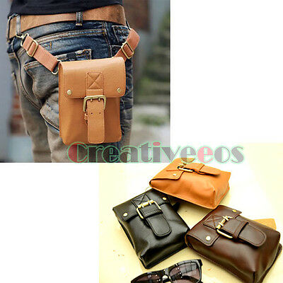 Men's Vintage Leather Hook Belt Buckle Shoulder Messenger Waist Fanny Bag Purse