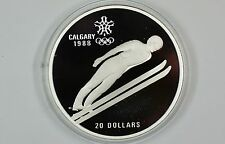 1987 Canada $20 Proof 1988 Calgary Olympic Coin Ski Jumping w/Capsule