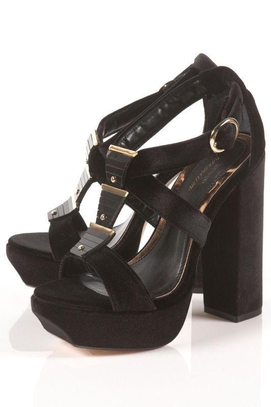 Topshop Premium Patti Terciopelo Negro Negro Negro oro Stud Grueso Retro Kitsch plataformas 5 38  mas barato