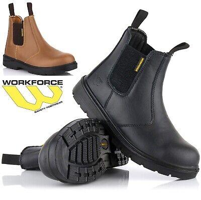 MENS LEATHER SAFETY WORK BOOTS SHOES STEEL TOE CAP BLACK DEALER CHELSEA UK SIZE