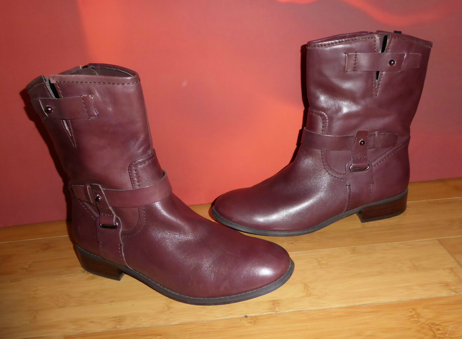 46 SUPERB AUTOGRAPH OXBLOOD LEATHER  ANKLE  BOOTS UK 7.5