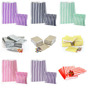 100-STRIPED-CANDY-PAPER-BAGS-FOR-SWEET-FLAVOUR-BUFFET-WEDDING-CAKE-GIFT-SHOP
