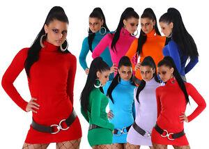 Sexy-Rollkragen-Long-Pullover-Minikleid-XS-S-M-34-36-38-Lang-Rollkragenpullover