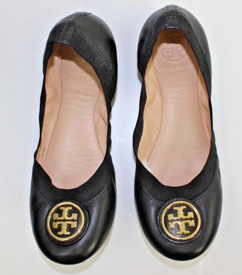 Tory Burch CAROLINE 2 Leopard Lurex Logo Ballet Ballerina Flats Shoes Black 6.5