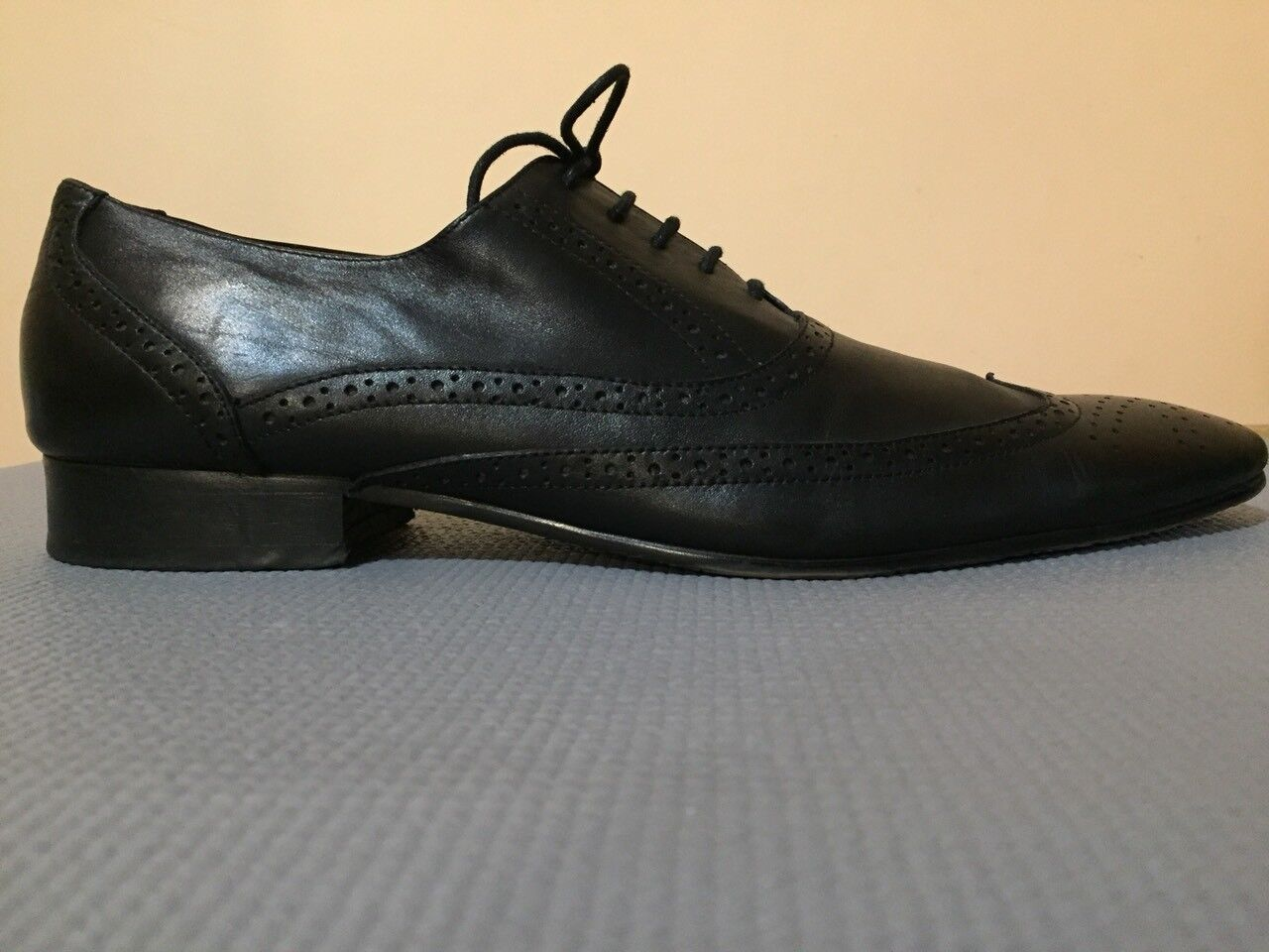 SHOE'SHI BAR COPENHAGEN BLACK LEATHER WING TIP EU45 UK11