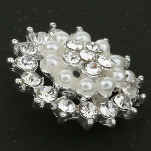 5x 21mm Pearl Flower Rhinestone Shank Round Buttons Sewing Craft