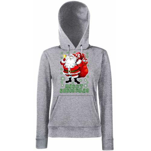 Funny Womens Hoodies-Merry Christmas Santa Clause-Hooded Sweatshirt