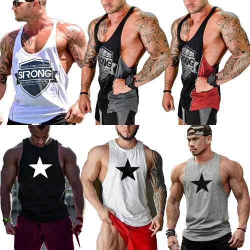 UK Gym Men Muscle Sleeveless Tank Top Tee Shirt Bodybuilding Sport Fitness Vest