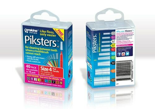 Piksters Interdental Brush Size 4 Red 40 Pack