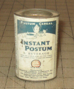 Vintage-INSTANT-POSTUM-1-amp-1-2-oz-Cereal-Beverage-3-5-034-Tall-TIN-Battle-Creek-MI