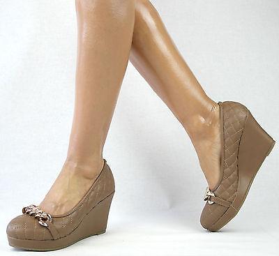 Zapatos Mujer Negro Beis 36-41 Tacón De Cuña Tacones Alto Meseta