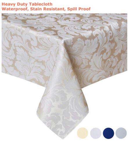 "Beige Tektrum 60/""X84/"" Rectangular Damask Tablecloth-Waterproof//Stain Resistant"