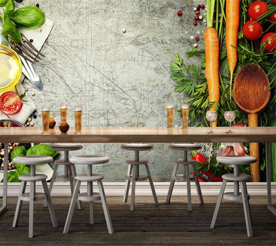 3D Vegetables And Cutlery 44 Paper Wall Print Wall Decal Wall Deco Indoor Murals