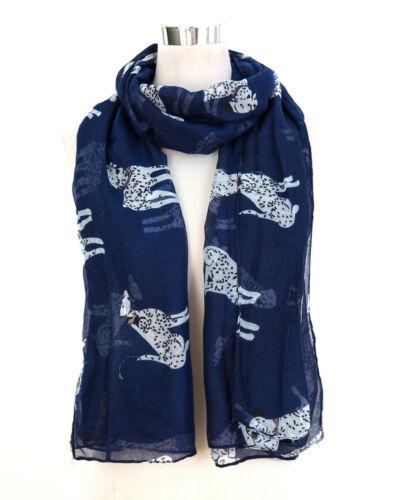 Navy Blue Ladies Scarf Dalmatian Dog Print Shawl Sarong Wrap Free Fast Delivery