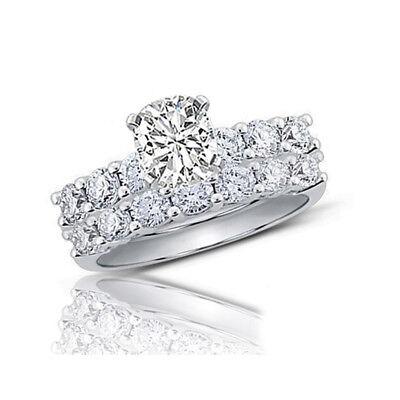 United Almohadón & Corte Redondo 3.30 Quilates Diamante Set Nupcial Anillo 18ct Oro Structural Disabilities Fine Rings Diamond