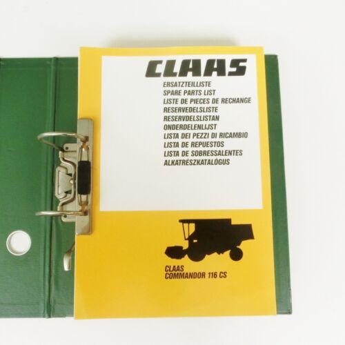 CLAAS Commandor 116 CS  Ersatzteilliste  Mähdrescher1986 Lagerexemplar