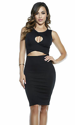 SEXY ABITO ELEGANTE NERO ADERENTE STRETCH TRAFORATO CREPE JERSEY FORPLAY DRESS M
