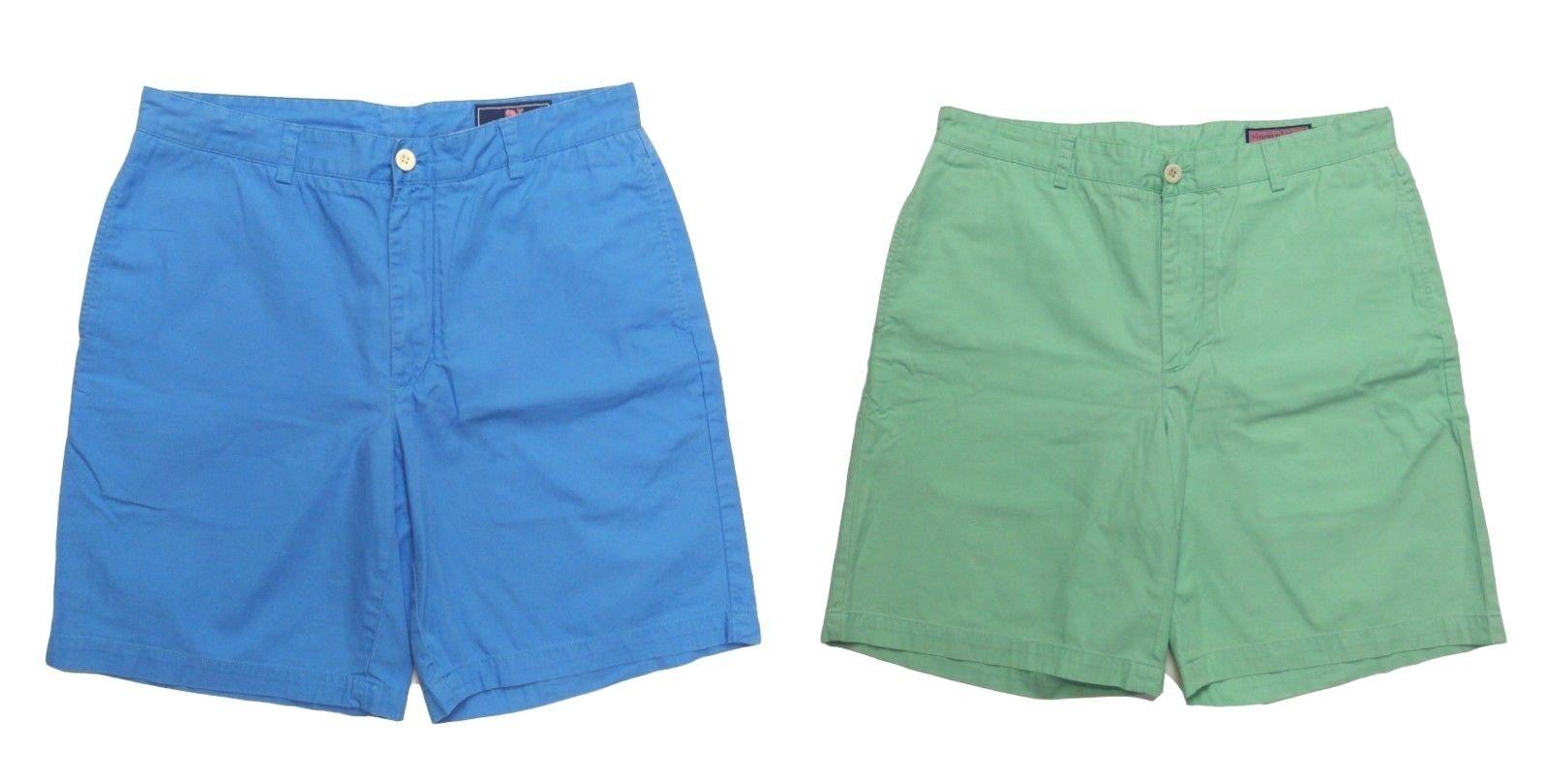 Lot of 2 Vineyard Vines Men's 34 Pastel Green bluee 100% Cotton Casual Shorts EUC