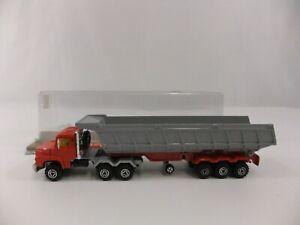 Majorette-Serie-3000-3063-Scania-Trailer-Dump-Truck-Grey-Red-Diecast-France-Mint