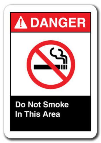 """Danger  Sign Do Not Smoke In This Area  7/""""x10/"""" Plastic Safety Sign ansi osha"""