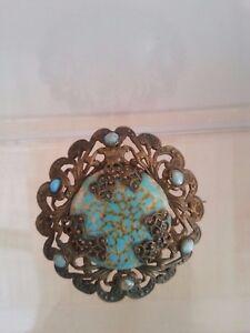 Vintage-Art-Deco-Czech-light-blue-Art-Glass-Filigree-brooch