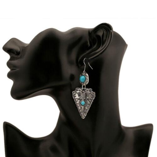 Pierre naturelle Boucles d/'oreilles bleu turquoise Boucles d/'oreilles argent Boucles d/'oreilles triangle Antiquités