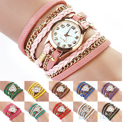 Women's Delicate Cool Vintage Weave Wrap Rivet Faux Leather Band Wrist Watch