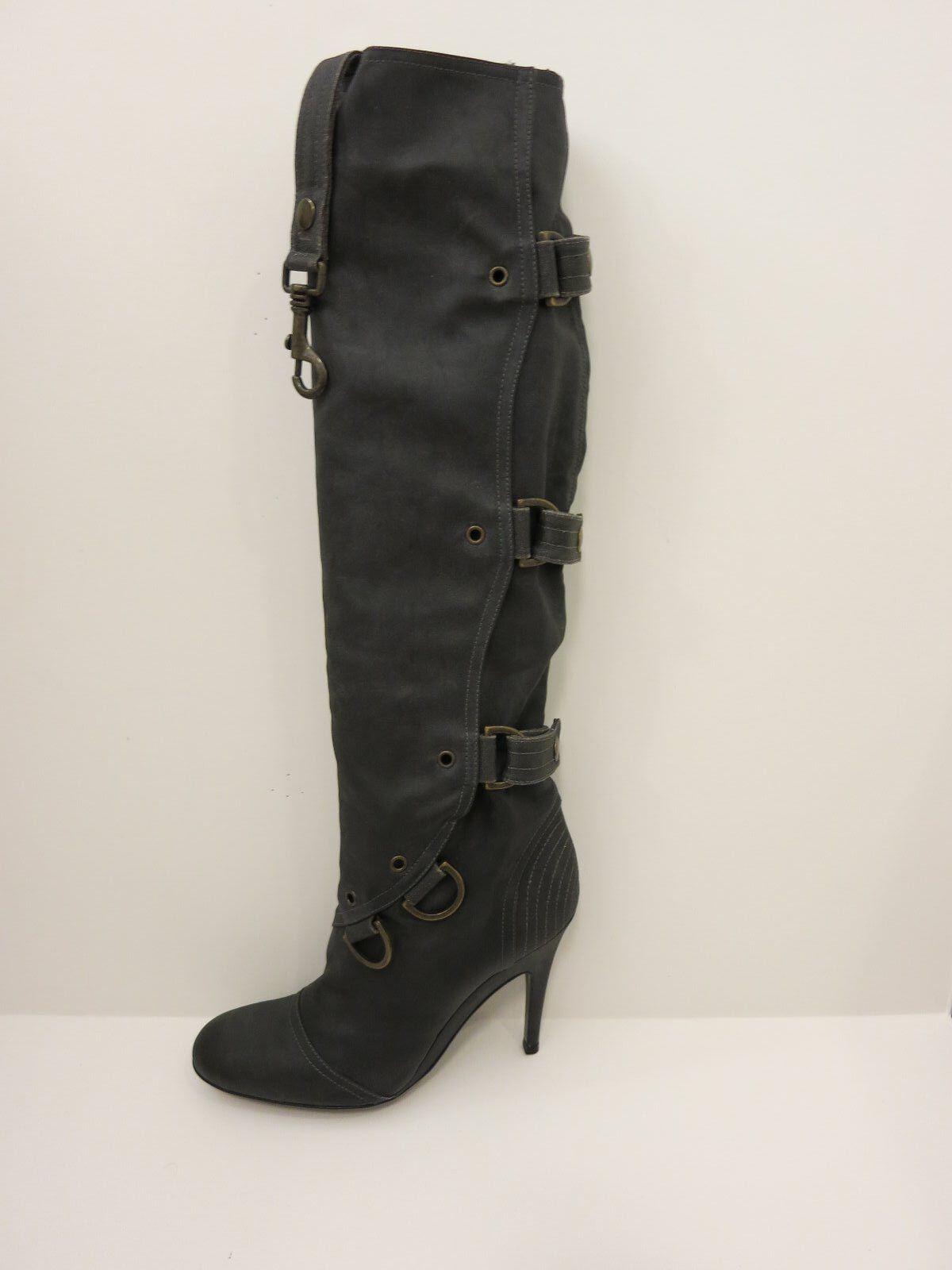 Stella McCartney Steel gris Knee-High Coated Canvas botas botas botas IT 38.5 US 8  1085 NIB  tiendas minoristas