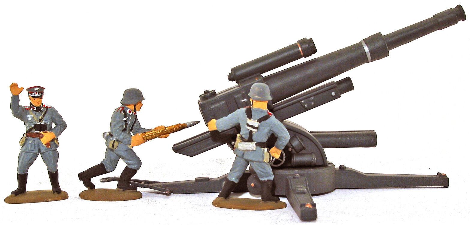 3 HAND MADE WWII German Artillerymen & 88mm Gun - congreened painted 54mm figures