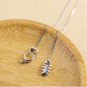 Damen-Ohrringe-Durchzieher-Katze-amp-Fischgraete-Echt-Sterling-Silber-925-Ohrhaenger