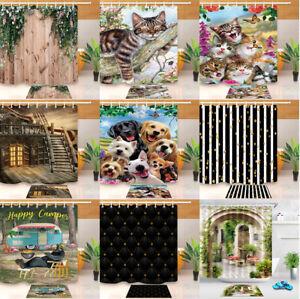 180x180cm-Happy-Pets-amp-Camper-Bathroom-Fabric-Shower-Curtain-Set-Liner-12-Hooks