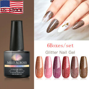 MEET-ACROSS-8ml-6Colors-set-Holographic-Glitter-Soak-Off-UV-Gel-Nail-Polish-Tips