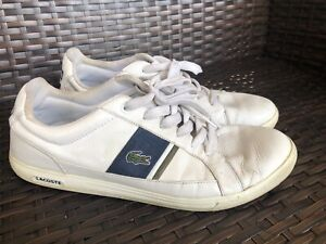 Lacoste-Men-039-s-Europa-Casual-Leather-Fashion-Sneaker-Shoes-Size-10-5-White-Navy