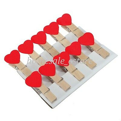 10/50/100Pcs Wooden Mini Clip Wood Pegs Kid Crafts Party Favor Supply 35mm Heart