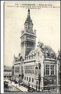 Dunkerque-France-CPA-1910-20-Hotel-de-ville-Partie-am-Rathaus-AK-DUNKIRCHEN