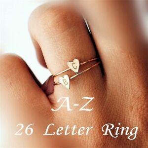 6db7c340137b Anillos de corazón de 26 letras Joyas con nombre para la amistad de ...