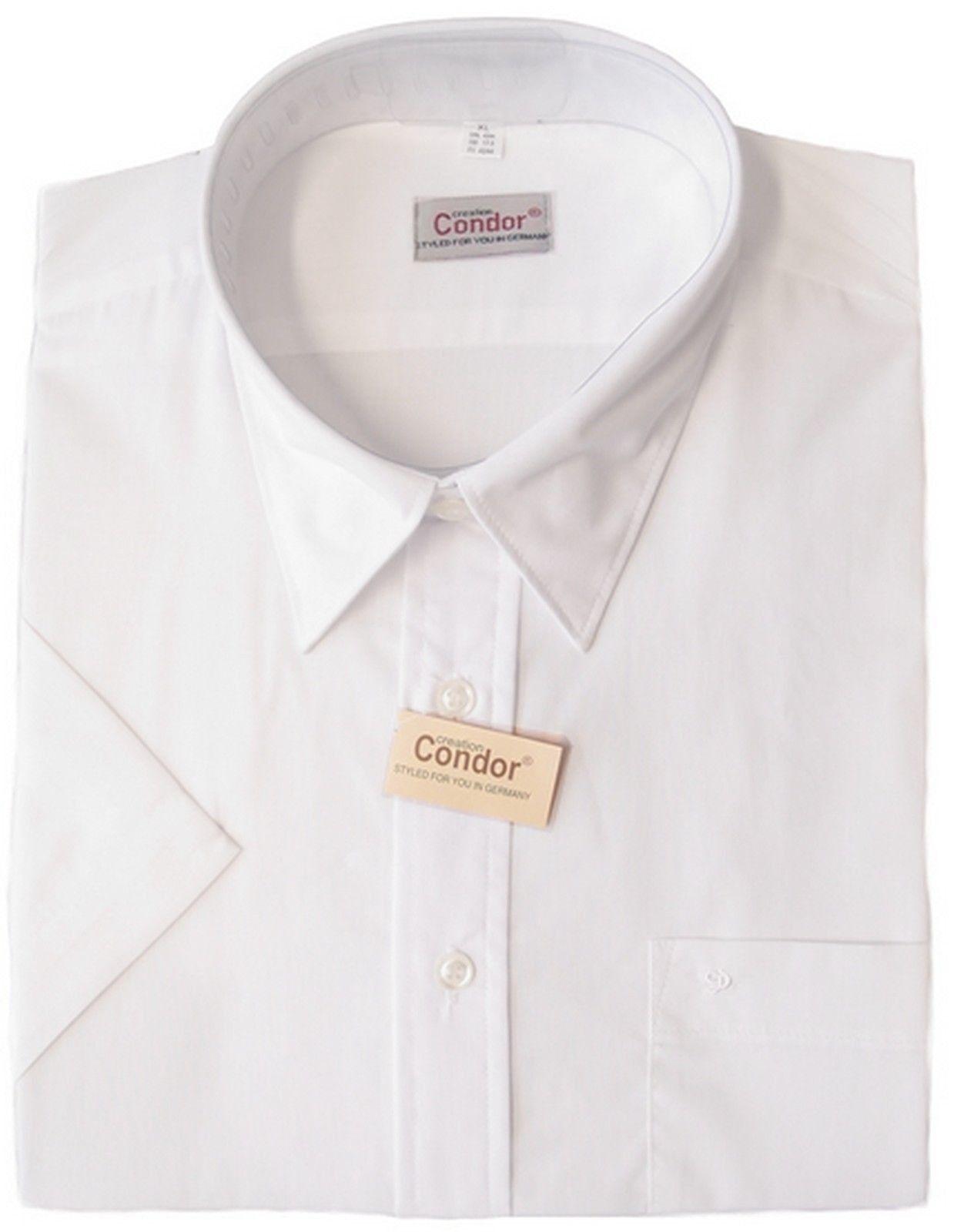 Uomo Camicia Bianco 1 2 braccio tasca interna con CD-Ricamo di Creation Condor